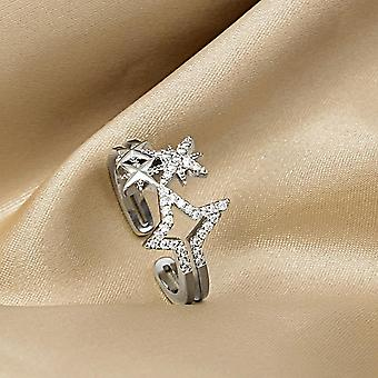 Micro-inlaid Ring Exquisite Super Flash Hollow Five-pointed Star Female