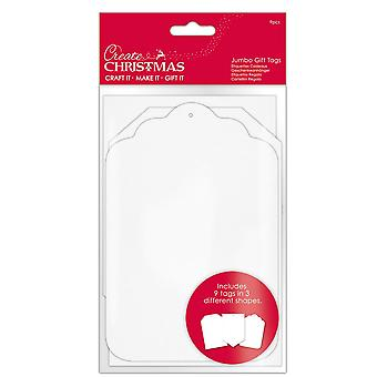9 Étiquettes cadeaux jumbo carte blanche pour emballage cadeau