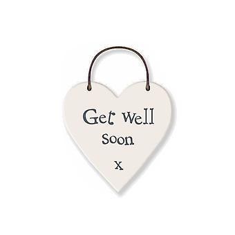 Get Well Soon - Mini Wooden Hanging Heart - Cracker Filler Gift