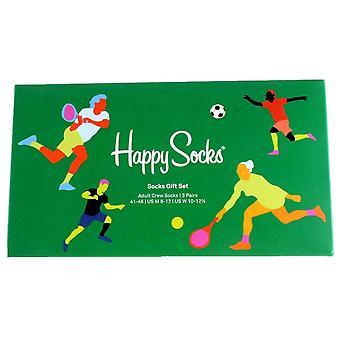 Happy Socks 3 Pack Sports Gift Box Socks - Navy/Green/Blue