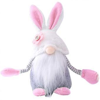 גמדי פסחא קישוט קטיפה, קישוט גמד ארנב הפסחא, בובת ארנב הפסחא חסרת הפנים,(9x3.9x3
