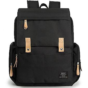 Large-capacity Mommy Bag Retro Travel Flip Double Shoulder Maternal And Baby Bagblack