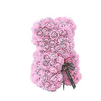 Ystävänpäivälahja 25 cm ruusukarhun syntymäpäivälahja£? muistipäivän lahja nalle(Vaaleanpunainen)
