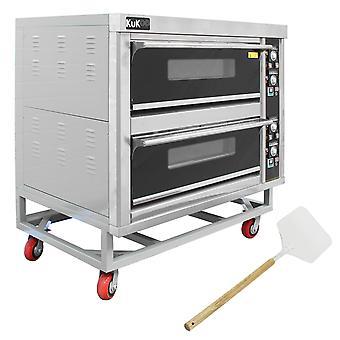 KuKoo - Horno Comercial para Cocinar Pizza y Otra Comida con 2 Cámaras 400°C para Restaurante, Café, Restaurante para Llevar, Pub y Panadería