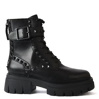 الرماد LEWIS ترصيع الأحذية الجلدية السوداء
