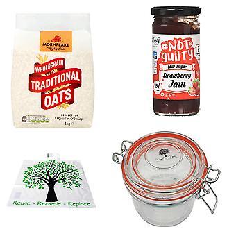 Seven Trees Farm Kit met 4 producten | 1 x glazen pot 350ml, 1 x aardbeienjam 260g, 1 x Mornflake traditional oats 1KG en een GRATIS Recycle Tree Bag