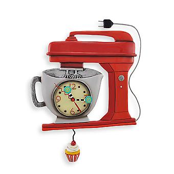 Allen Designs Red Vintage Kitchen Mixer Wall Clock with Cupcake Pendulum
