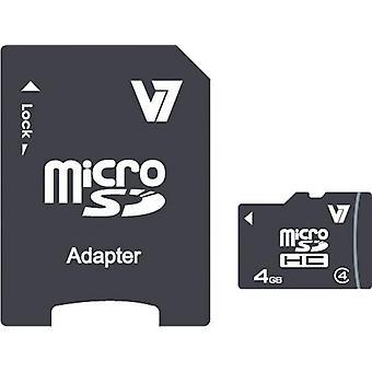 V7 VAMSDH4GCL4R-2E, 4 GB, MicroSDHC, Klass 4, 10 MB/s, 4 MB/s, Svart
