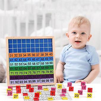 Træ Matematik Learning Board Legetøj, 1 100 på hinanden følgende numre Wooden Hundred Bag| Matematik legetøj