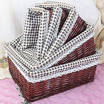 Baskets 4 piece set of french style vintage handmade rattan storage baskets for household use 4 dark