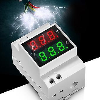 Digital Din-rail Ac Voltage Current Led Dual Display Panel Voltage Amp Meter