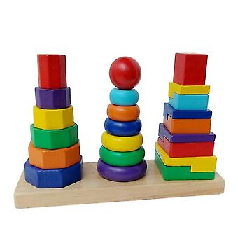 Lanbena Children Educational Toys Three Pillar Rainbow Building Set Wooden Three Column Tower|blocks