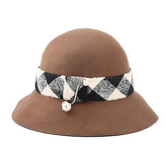 Lady Thousand Bird Rettice Pearl Ribbon Basin Hat Outono Inverno Quente Chapéu pescador chapéu versátil Chapéu Elegante