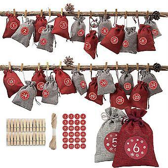 24kpl joulu joulukalenteri lahjapussi joulukuusi ripustus laukku