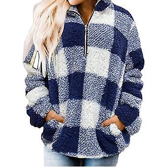 Sweatshirt Jacke Warm Top Loose Dick Kariert High Neck Pullover Plüsch Weiblich Blau