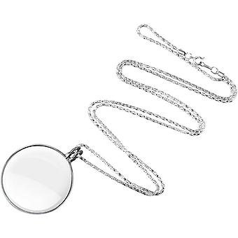 5x Magnifier Necklace Long Pendant Metal 42mm Jewelry Optica Loupe