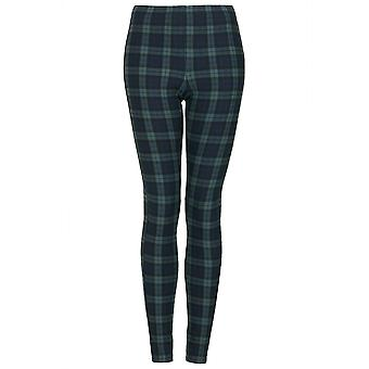 PETITE Topshop Black Watch Green Tartan Leggings UK SIZE 4