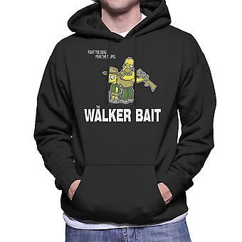 The Walker Bait Walking Dead Rick And Carl Grimes Homer And Bart Simpson Men's Hooded Sweatshirt