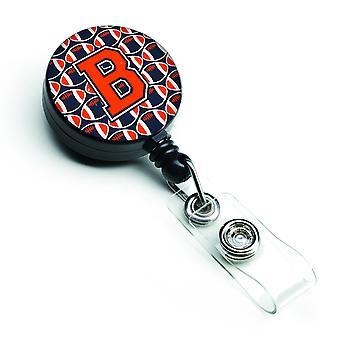 Letter B Football Orange, Blue and white Retractable Badge Reel