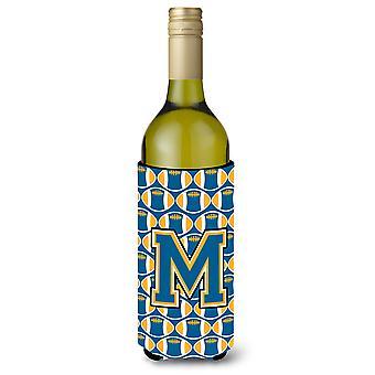 Letter M Football Blue and Gold Wine Bottle Beverage Insulator Hugger