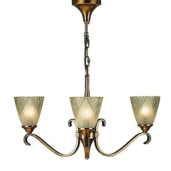 Interiors 1900 63436 Columbia 3 Light Ceiling Fitting In Antique Brass