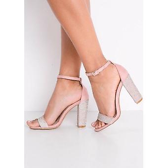 Diamante verfraaid Faux Suede Strappy blok Heeled Sandals roze