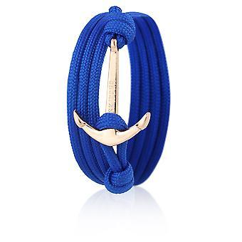 Schipper anker armband armband in blauwe Nylon met gouden anker 6579