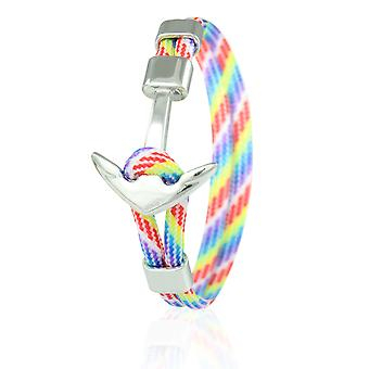 Skipper anchor bracelet 21 cm nylon arm jewellery multicolored with silver anchor 6969
