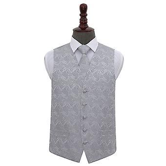 Paisley plata boda chaleco y corbata conjunto