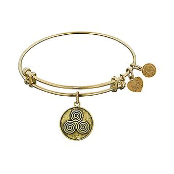 Smooth Finish Brass Mind, Body And Soul Angelica Bangle Bracelet, 7.25""