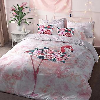 Flamingo Floral Duvet Cover Bedding Set