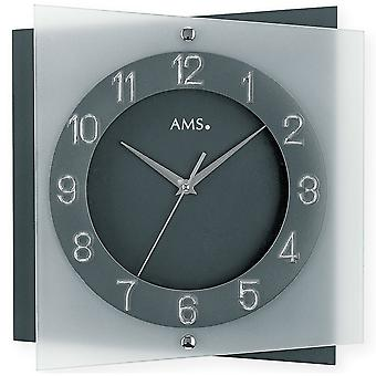 AMS wall clock 9323 quartz mineral glass on anthracite painted rear panel