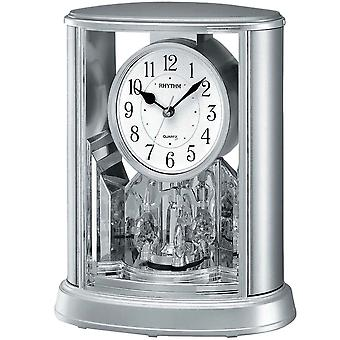 Table clock quartz clock with rotating pendulum rhythm housing silver 24 x 20 cm
