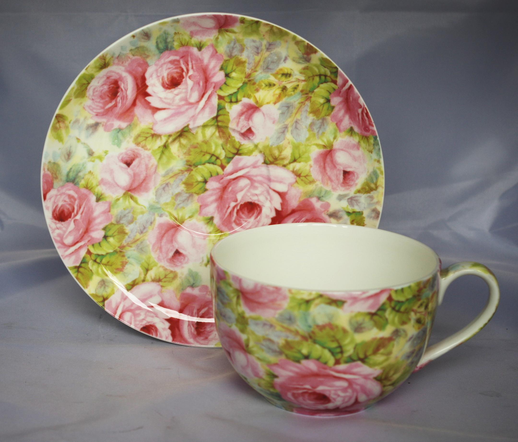 Английский большой чашки костяного фарфора & блюдце Misty Роуз