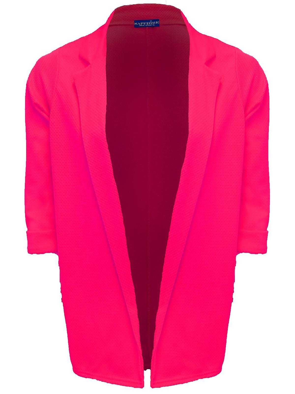 Ladies Turn Up 3/4 Sleeve Open Front Textured Women's Long Blazer Jacket