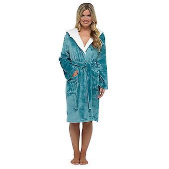 Senhoras Tom Franks Warm Shimmer Fleece Hooded Wrap Over Nightwear Bathrobe Dressing Dress Dress