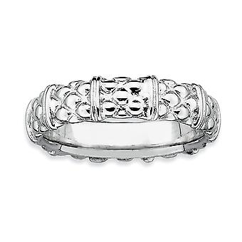 925 Sterling Silver Polished Patterned Stackable Expressions Rhodium Ring Jewelry Gifts for Women - Ring Size: 5 to 10