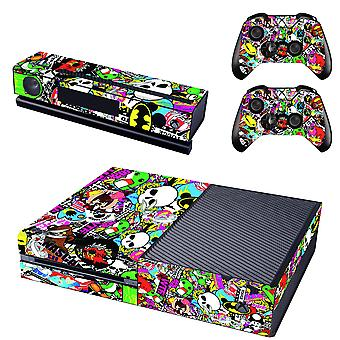 REYTID Console Skin / Sticker + 2 x Controller Decals & Kinect Wrap Compatible with Microsoft Xbox One - Full Set - Graffiti