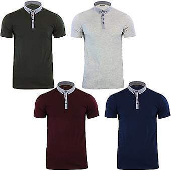 Brave Soul Mens Chimera Short Sleeve Cotton Collar Plain Polo T Shirt Top