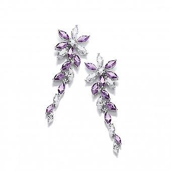 Brincos de Floral CZ Cavendish francês prata e ametista
