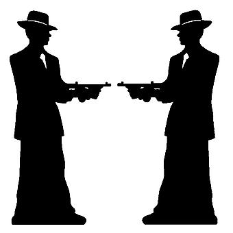 Gangster Silhouette (Double Pack) - Gangsters & Molls - Lifesize Cardboard Cutout / Standee