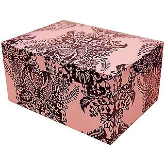 Mele Alesha Pink & Black Stylized Floral Design Vanity/Jewellery Box With Mirror