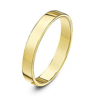 Star Wedding Rings 18ct Yellow Gold Heavy Flat Court Shape 3mm Wedding Ring