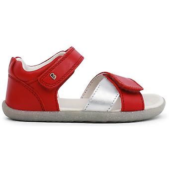 Bobux Step Up Girls Sail Sandals Red Silver