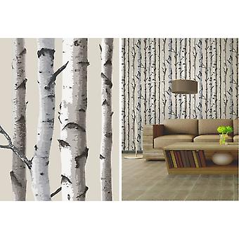 Fine Decor Cream Birch Trees Forest Themed Feature Wallpaper