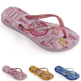 Kids Girls Havaianas Slim Princess Lightweight Disney Rubber Flip Flops