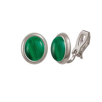 Ewige Sammlung Menuett grünen Malachit Silberfarbe Stud-Clip auf Ohrringe