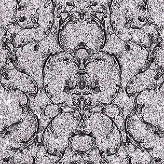 Glitter Damask Wallpaper Baroque Scroll Mink Black Metallic Vinyl Muriva Couture