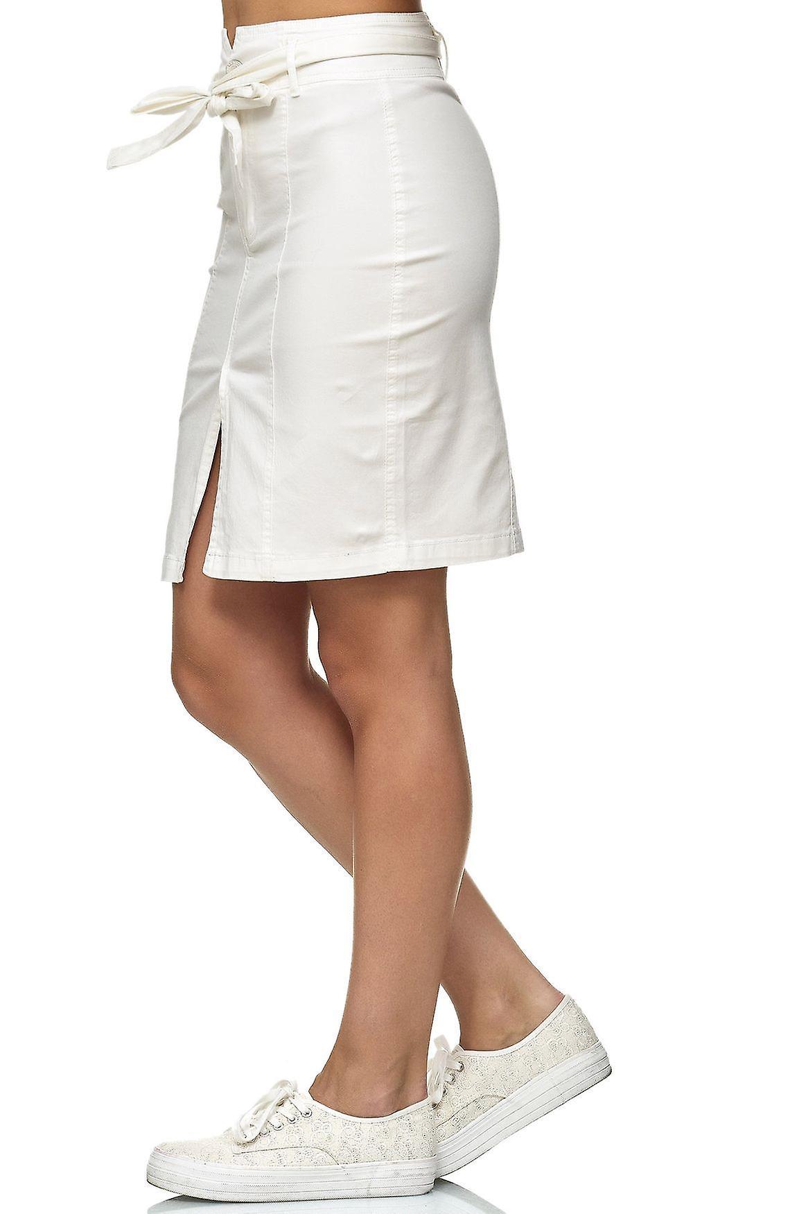 Kvinnors kjol Front Slit och slips bälte knälång Stretch Midi kjol svart vit