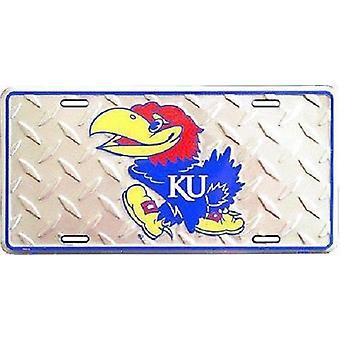 """Kansas Jayhawks NCAA """"Diamond"""" License Plate"""